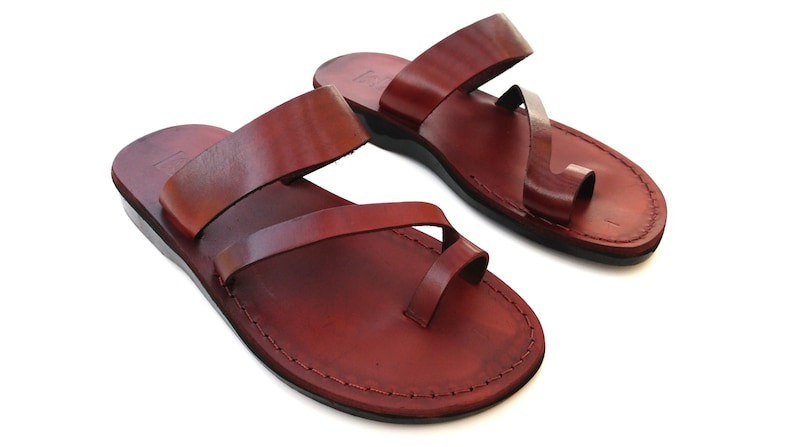 4e85af050b7b8 Brown Strappy Summer Jesus Leather Sandals for Men, Men's Summer Classic  Flats Flip Flops Thongs, Spartan Grecian Roman Greek style, MARIANO