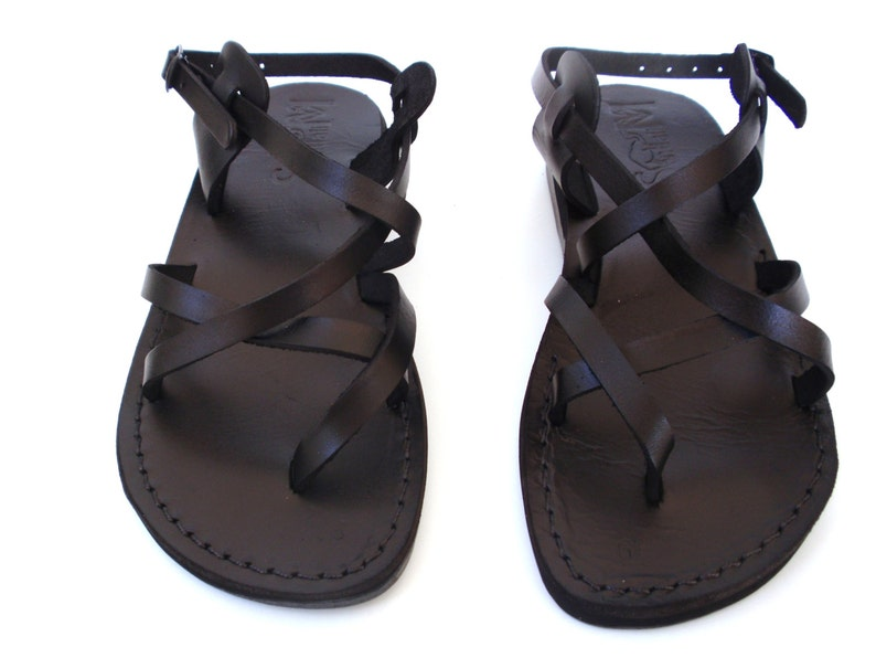 d70020ec85449 Black Strappy Summer Jesus Sandals Mens   Women Leather Flats