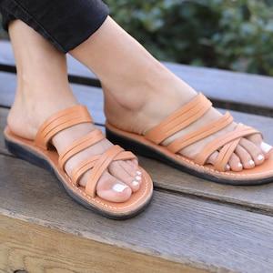Classic Summer Everyday Shoes for Women Flats Slides Flip Flops Spartan Beach Thongs Sandals MOONLIGHT Natural Leather Women/'s Sandals
