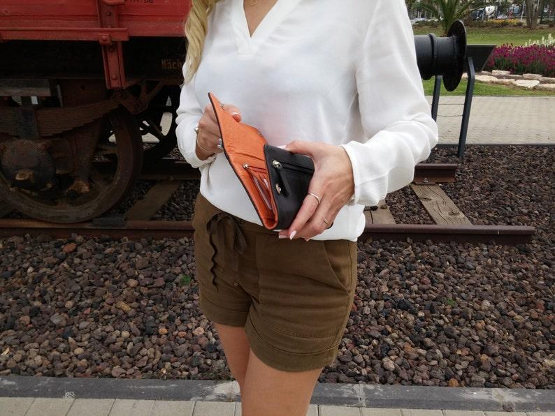 Leather card holder Tri fold wallet Wallet purse Ladies wallets Unique Black and Orange Leather Clutch for Women Clutch purse