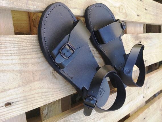 Men Jesus Leather Summer Sandals, Black Elegant Strappy Men Sandals, Spartan Grecian Roman Ancient Classic Sandals, Everyday Sandals, KIBUTZ