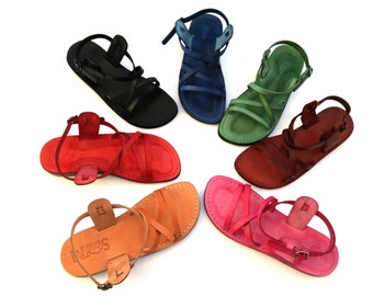 Genuine Leather Strappy Sandals for Women, Flip-Flops, Flats, Thongs, Comfort Walking Shoes, Slides, Designer, Ladies, LONDON