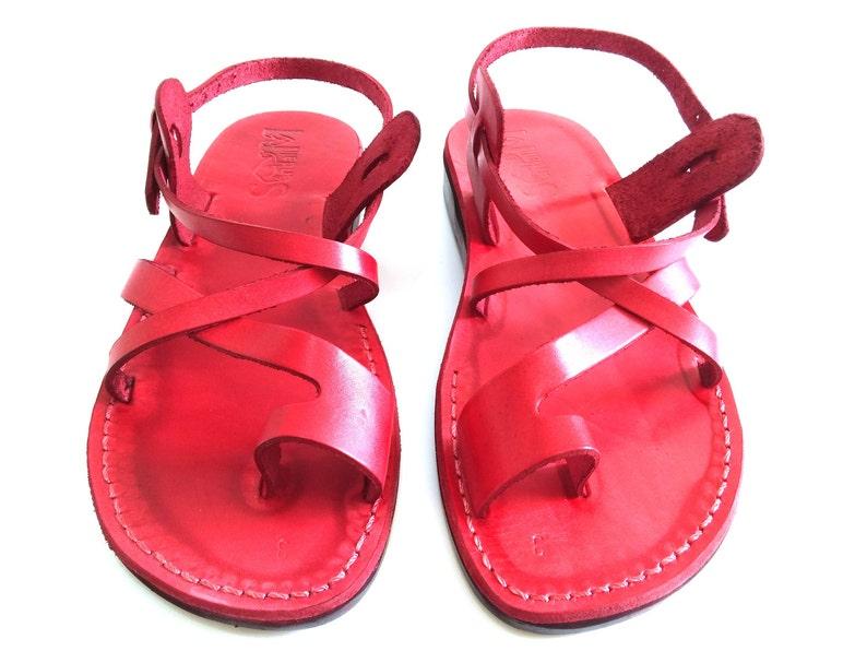 dd40fc6e14b7c Toe Ring Summer Jesus Sandals for Men, Men's Leather Flats Classic Slide  Flip Flops, Spartan Grecian Summer Roman Greek style, TEL AVIV
