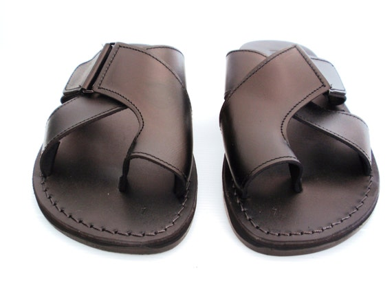 fe7a161bd7573 Black Leather Sandals for Men and Women Handmade Grecian