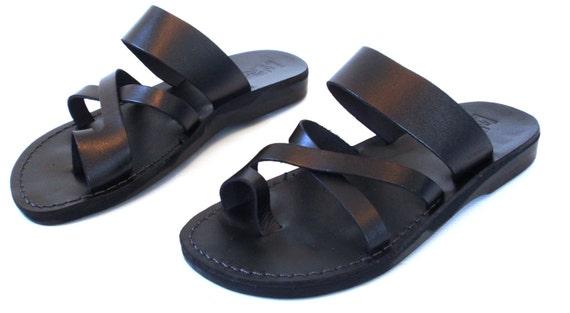 Men Leather Sandal Black Jesus Sandals