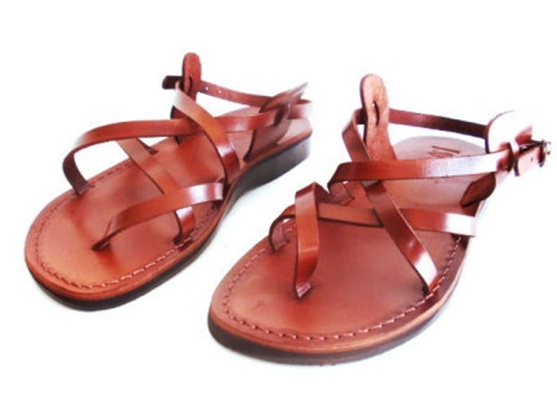 4efbe2f6a7801 Brown Genuine Leather Strappy Sandals for Women, Shoes, Flip-Flops, Flats,  Slides, Thongs, Comfort Walking, Designer, Ladies, GLADIATOR