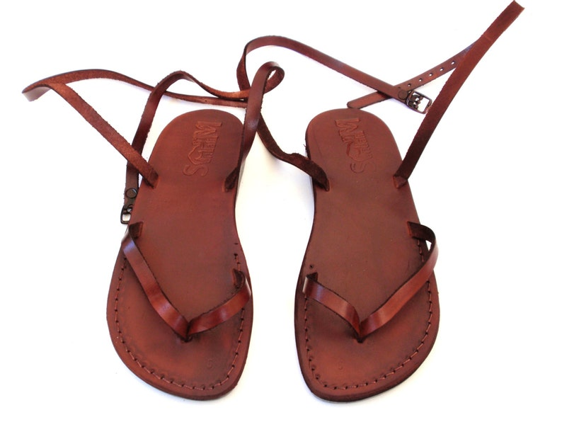 27afc4bf15c1 Ladies Leather Sandals Brown Elegant Classic Comfortable