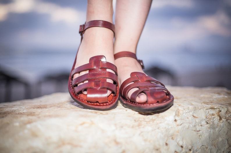 3ef2bc0aa9a1 Brown Leather Sandals for Women Elegant Comfortable Classic