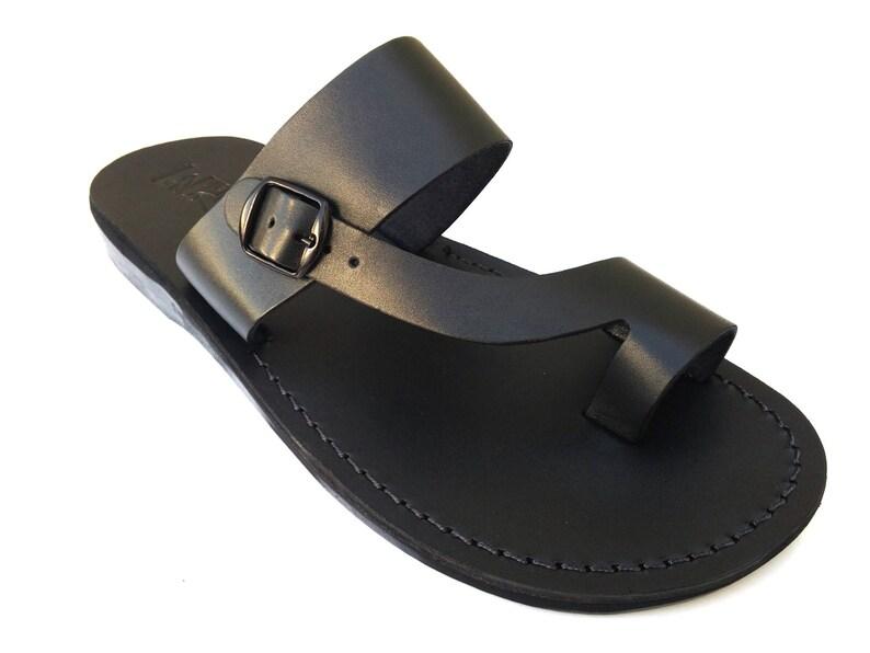 9b992423f872cb New Men Leather Sandals Black Jesus Sandal Slip on Sandals | Etsy