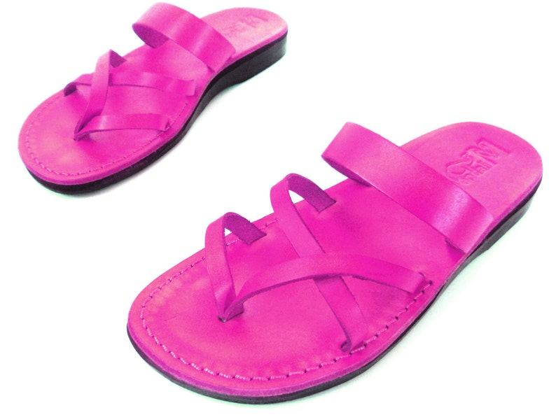 92991c96bfefa Pink Leather Flip Flops Sandals, Classic Elegant Ladies Sandals, Grecian  Spartan Greek Flat for Women, Summer Beach Leather Thong, APHRODITE