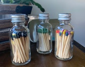 NO LABEL - 2 quot Apothecary Matches in Glass Jar - Matches - Matchstick - 50 Colored Tip Matches