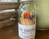 CUSTOM Label - 2 quot Apothecary Matches in Glass Jar - Matches - Matchstick - 50 Colored Tip Matches