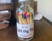 Light my Fire - 2 quot Apothecary Matches in Glass Jar - Matches - Matchstick - 50 Colored Tip Matches