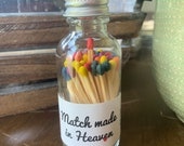 Match made in Heaven - 2 quot Apothecary Matches in Glass Jar - Matches - Matchstick - 50 Colored Tip Matches