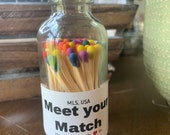 Meet your Match - 2 quot Apothecary Matches in Glass Jar - Matches - Matchstick - 50 Colored Tip Matches