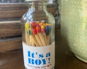 It 39 s a BOY - 2 quot Apothecary Matches in Glass Jar - Matches - Matchstick - 50 Colored Tip Matches