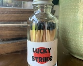 Lucky Strike - 2 quot Apothecary Matches in Glass Jar - Matches - Matchstick - 50 Colored Tip Matches