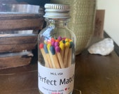 Perfect Match - 2 quot Apothecary Matches in Glass Jar - Matches - Matchstick - 50 Colored Tip Matches