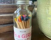 It 39 s a GIRL - 2 quot Apothecary Matches in Glass Jar - Matches - Matchstick - 50 Colored Tip Matches