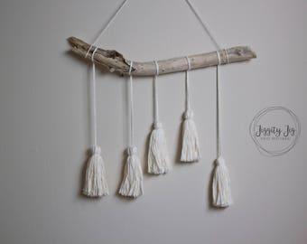 Tassel Wall Hanging, tassel mobile, yarn wall hanging, fiber art, wall tassels, boho nursery decor, boho art, white tassels