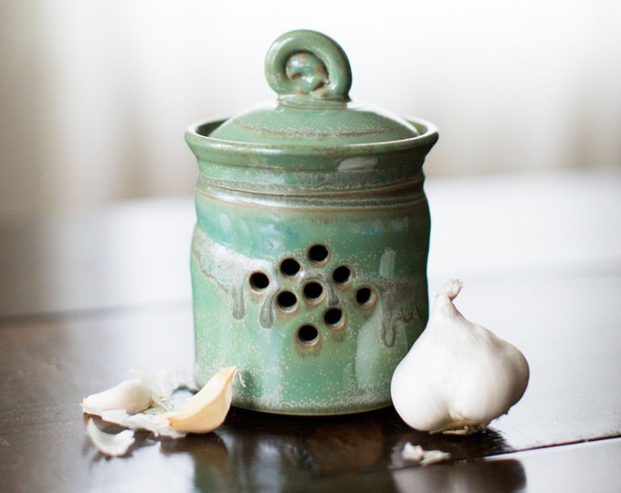 Featured listing image: Garlic Jar (Green Glaze)