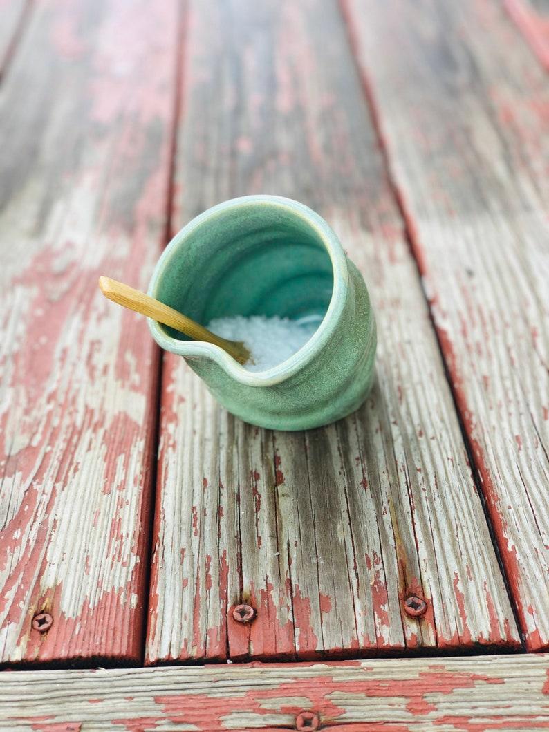 Salt cellar  Spoon Green Glaze image 0
