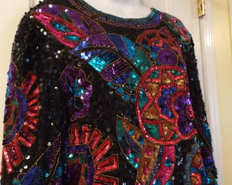 8611f73f0049 80s Sequin Top 1980s Women's Vintage Bold Multi-color Top