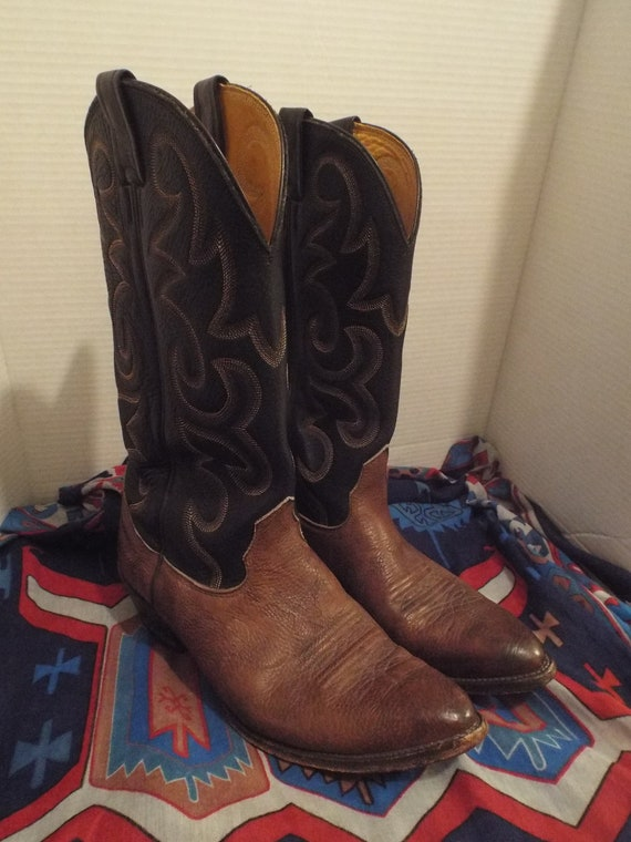 Mens Black Brown Leather Western Boots, Mens Two T