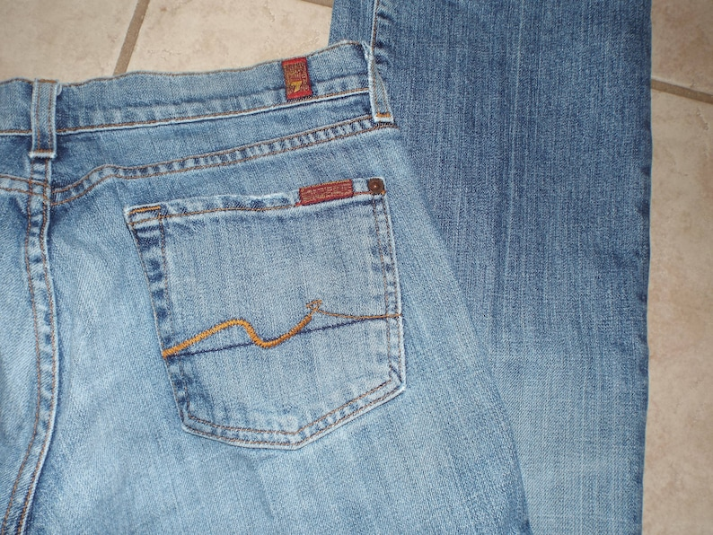 Men/'s 1990s Jeans Distressed Jeans For All Mankind Size 28 Boot Cut Denim Fall Fashion