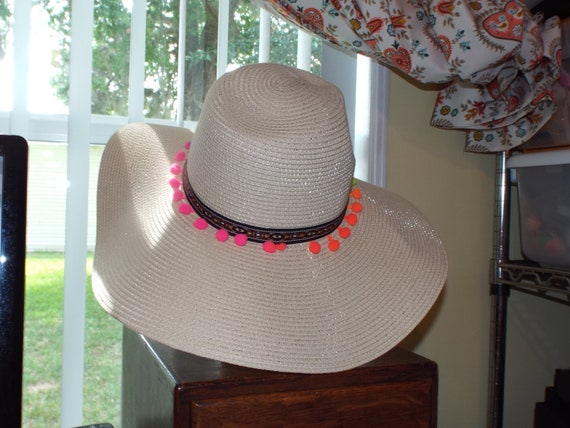 1990s Summer Floppy Straw Hat, Hat With Pompoms - image 4
