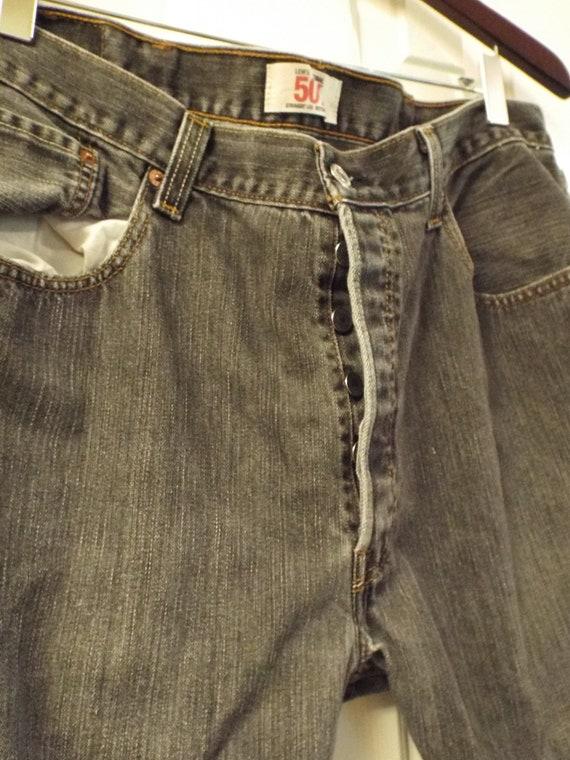 Mens Black 501 Levis Jeans, Vintage Mens Levis - image 5