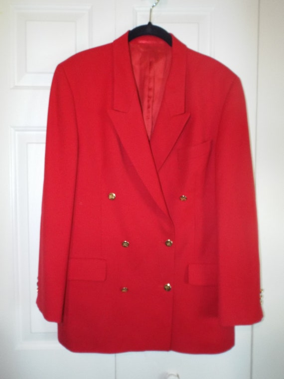 1970s Red Burberry Blazer, Women's Vintage Burberr