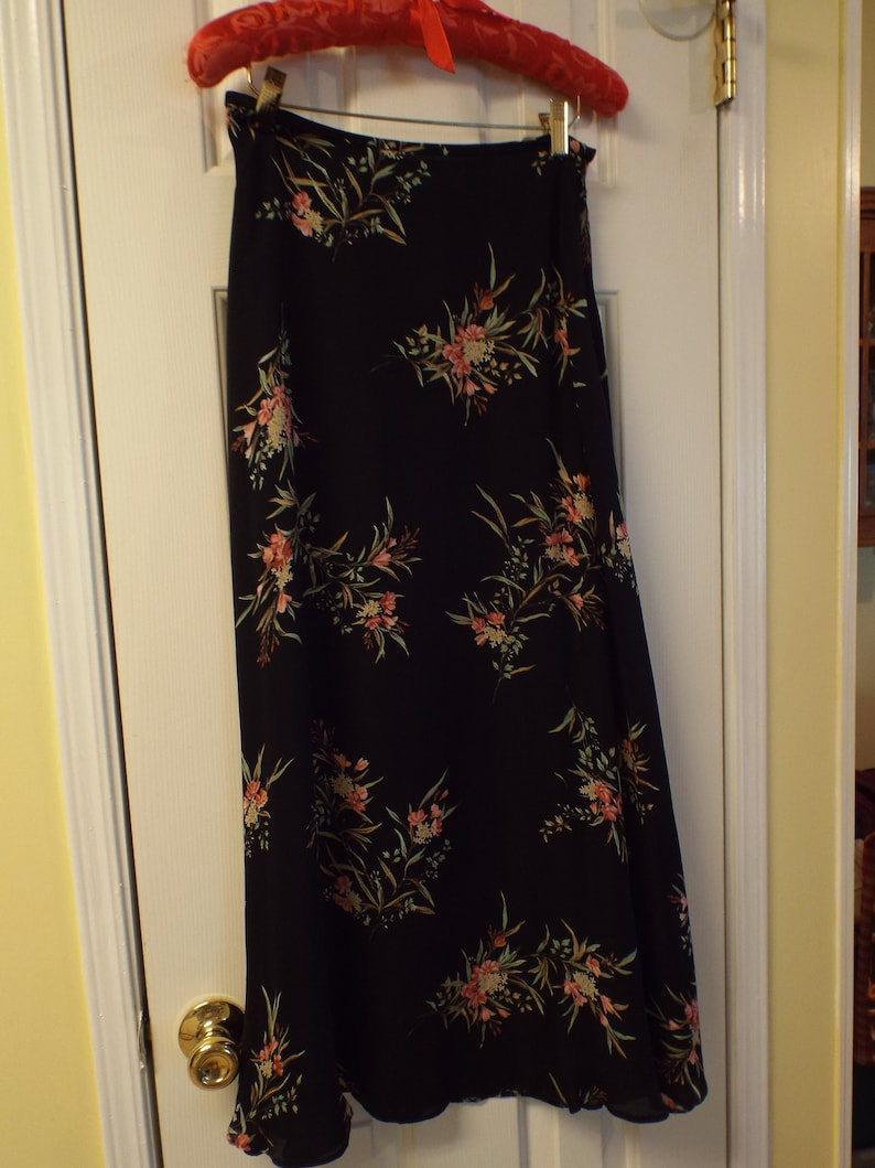 dd2b4265a8 Maxi Skirt Ralph Lauren Black Floral Flowing Women's Long | Etsy