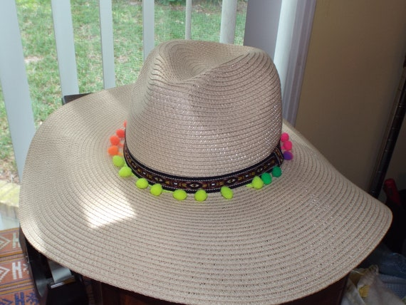 1990s Summer Floppy Straw Hat, Hat With Pompoms - image 9