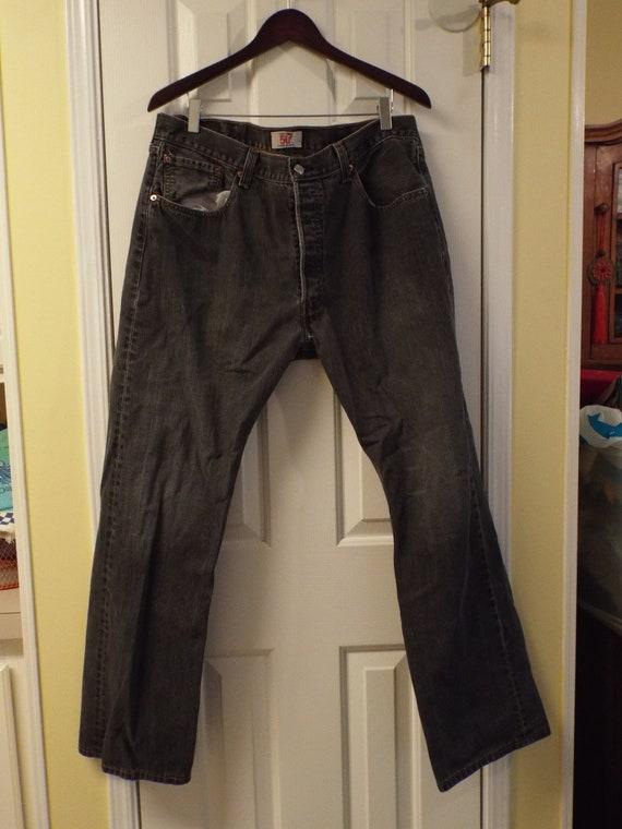 Mens Black 501 Levis Jeans, Vintage Mens Levis - image 3