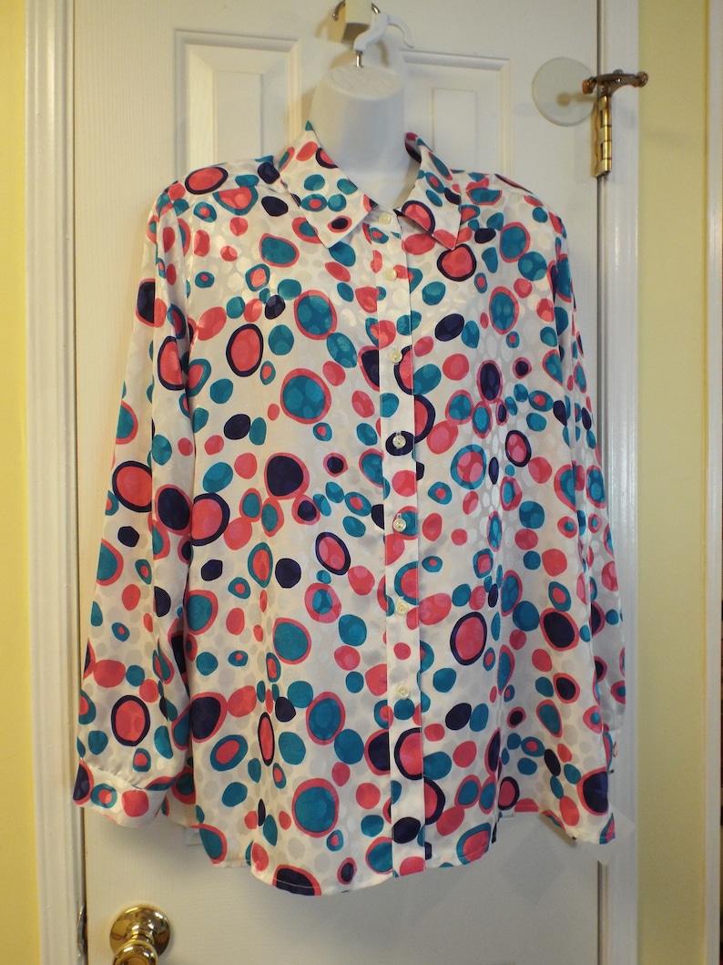 80s Long Sleeve Blouse-Polka Dots-Polyester-Colorful-Da-Rue of California