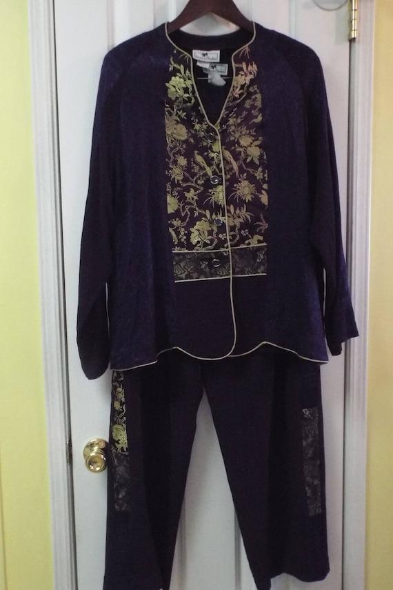 1970s Pantsuit, Purple Lace Satin 3-Piece Size XL,