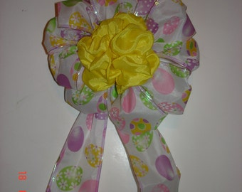 Easter eggs Basket Decoration Bow- Colored eggs print on white for basket or wreath