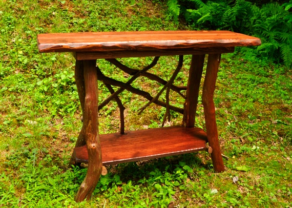 Awesome Rustic Tv Stand Console Sofa Table With Shelf Log Cabin Furniture By J Wade Free Shipping Squirreltailoven Fun Painted Chair Ideas Images Squirreltailovenorg