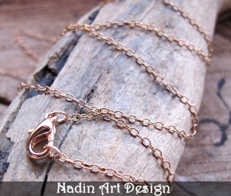 Oval Links Necklace Charms rose color necklace simple necklace 17 inch Copper Chain Necklace with Lobster Clasp for Pendants