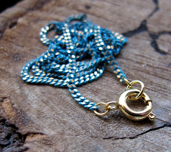 turquoise chain necklace twisted cable link chain with gold etsy