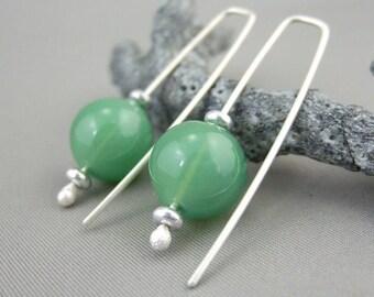 Green Bubble Earrings Opaque Hand-blown Glass Bubble and Sterling Silver Earrings Handmade Green Sphere Ball Earrings