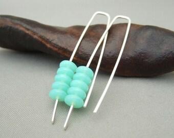 Aqua Green Stacked Earrings - Sea Green Czech Glass and Sterling Silver Modern Drop Earrings