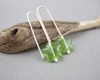 Handmade Green Star Earrings - Lime Green Czech Glass and Sterling Silver Stars