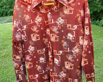 Vintage 1970s Disco Shirt Polyester