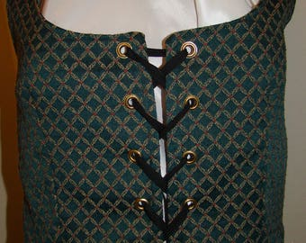 Costume Vest Adult Woman Renaissance Wench Pirate Gypsy Peasant Ethnic Faire Halloween 2 Sizes