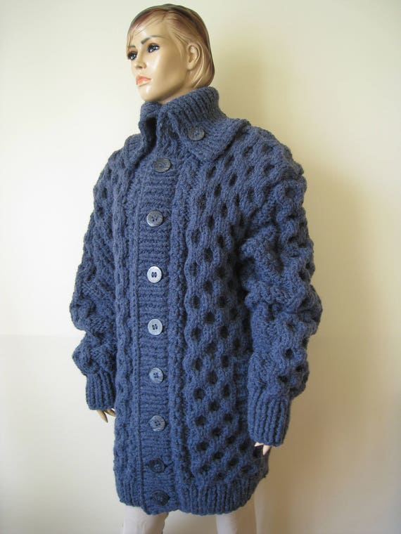Made to order New hand knitted extra thick coat with Green Olive alpaca yarn size XL or 2 XL