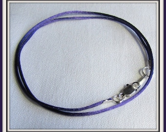 Purple 4 Silicone Necklace Cord 2-2.2mm Wide Snap Clasp Closure 16 or 18 Length