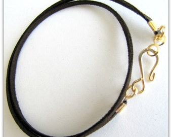Silver plated Designer Hook Clasp Pendant cord Charm Cord Espresso Brown Choker Necklace Brown Necklace Cord 12 to 24 inch Faux Suede