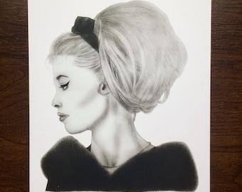 Brigitte Bardot Illustration A4 Art Print